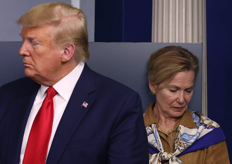 White House coronavirus response coordinator Deborah Birx, and U.S. President Donald Trump participate in a briefing following a meeting of his coronavirus task force in the Brady Press Briefing Room at the White House on April 6, 2020 in Washington, DC.