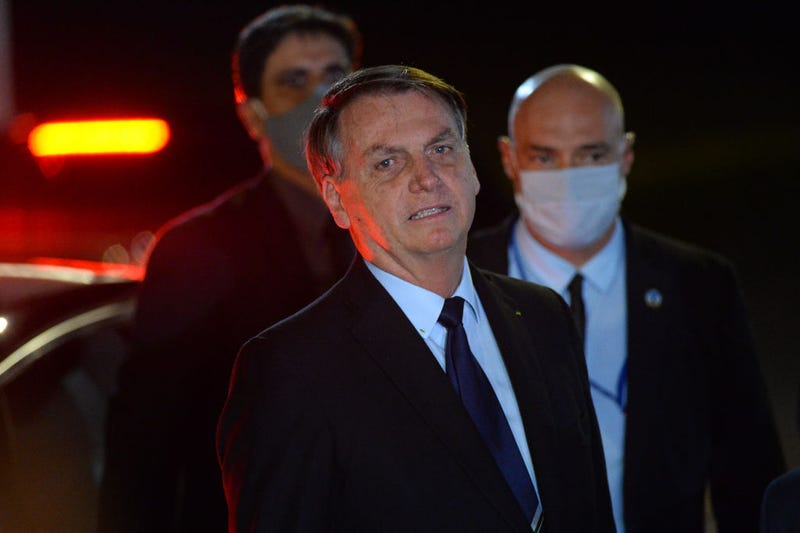President of Brazil Jair Bolsonaro reacts during a conference with the press and supporters at Alvorada Palace on June 05, 2020 in Brasilia, Brazil.