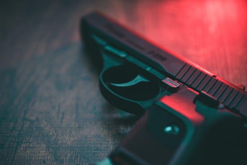 A semi-automatic handgun.