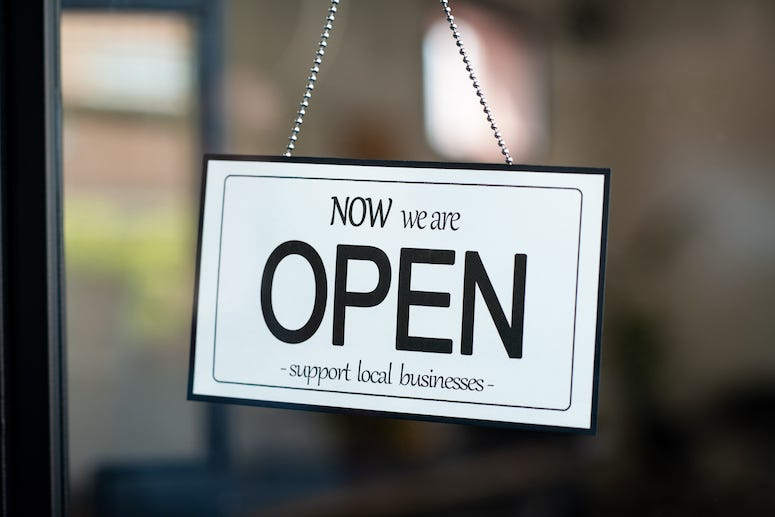 Sign, Support Local Business, Open