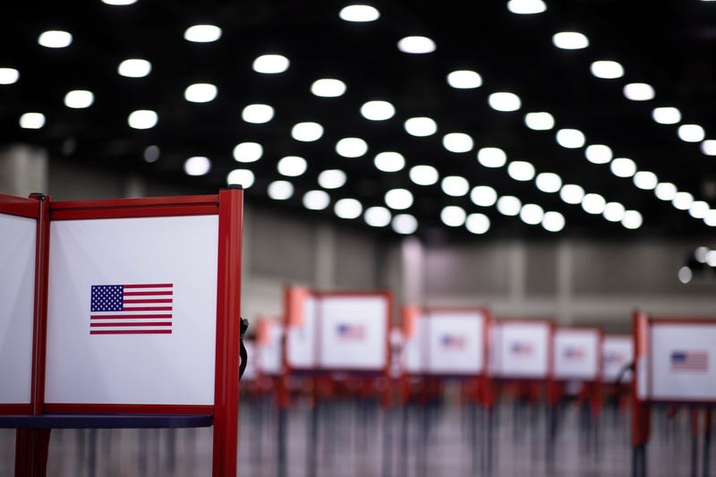 Detail view of a voting booth during Tuesdays Kentucky primary election on June 23, 2020 in Louisville, Kentucky.