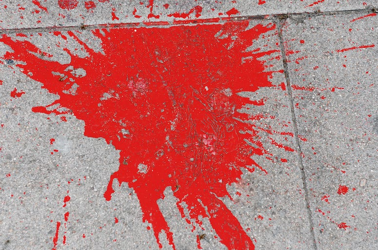 Fake Blood, Stain, Sidewalk