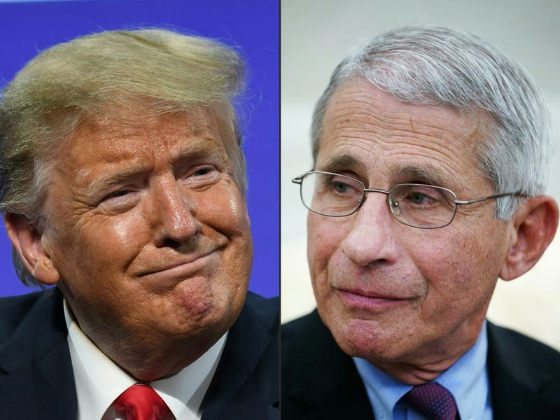 This combination of pictures created on July 13, 2020 shows US President Donald Trump in Phoenix, Arizona, June 23, 2020 and Anthony Fauci , director of the National Institute of Allergy and Infectious Diseases in Washington, DC on April 29, 2020.