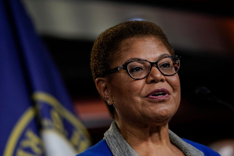 Rep. Karen Bass (D-CA) speaks during a news conference to discuss an upcoming House vote regarding statues on Capitol Hill on July 22, 2020, in Washington, DC.