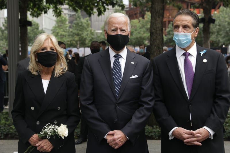 Democratic presidential candidate Joe Biden, with ghis wife Jill Biden and New york Governor Andrew Cuomo, attends the 19th September 11 commemoration ceremony at the National September 11 Memorial & Museum in New York, September 11, 2020.