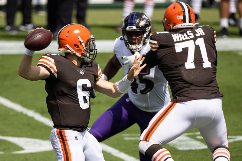 Cleveland Browns left tackle Jedrick Wills Jr. blocks for quarterback Baker Mayfield
