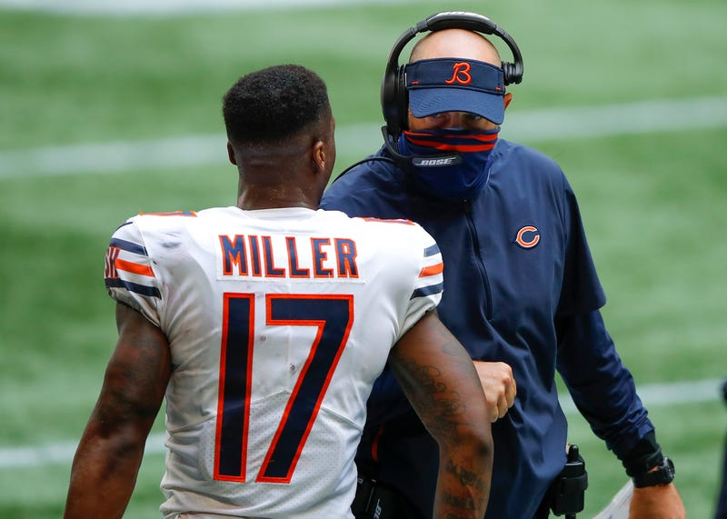Anthony Miller #17 of the Chicago Bears reacts with head coach Matt Nagy in the fourth quarter of an NFL game against the Atlanta Falcons at Mercedes-Benz Stadium on September 27, 2020 in Atlanta, Georgia.