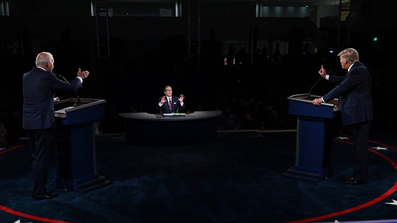 U.S. President Donald Trump (R) and former Vice President and Democratic presidential nominee Joe Biden participate in the first presidential debate at the Health Education Campus of Case Western Reserve University on September 29, 2020 in Cleveland, Ohio.