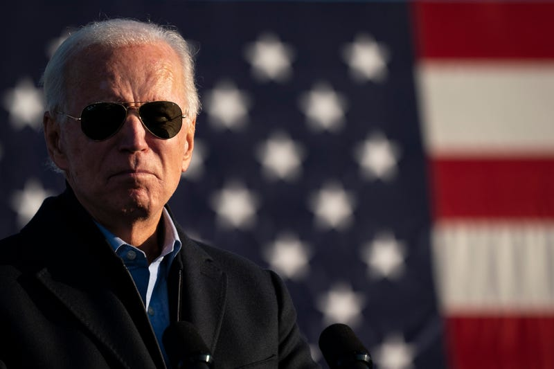 Democratic presidential candidate Joe Biden speaks during a drive-in campaign rally at the Minnesota State Fairgrounds on October 30, 2020 in St. Paul, Minnesota. Biden is campaigning in Iowa, Wisconsin and Minnesota on Friday.