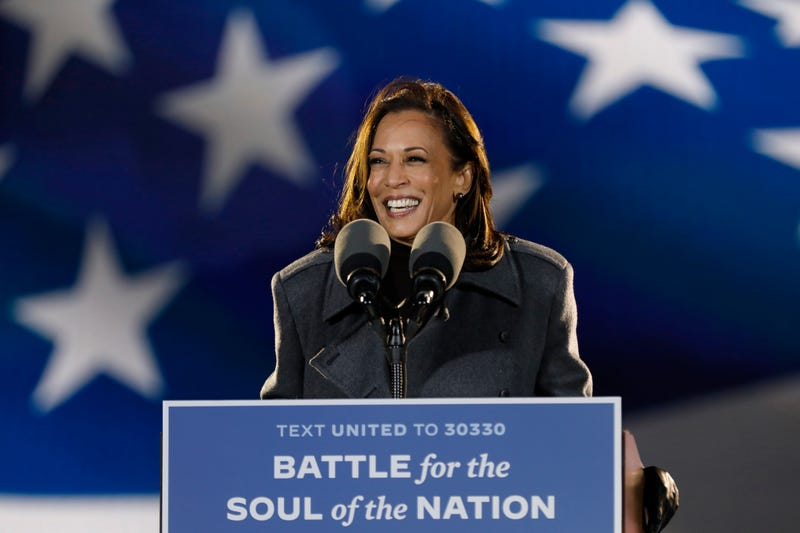 Kamala Harris addresses supporters at the drive- rally Monday night, Nov.2, 2020 at Citizens Bank Park parking lot in Philadelphia, Pennsylvania.