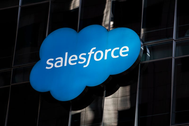 The Salesforce logo is seen at its headquarters on December 1, 2020 in San Francisco, California.