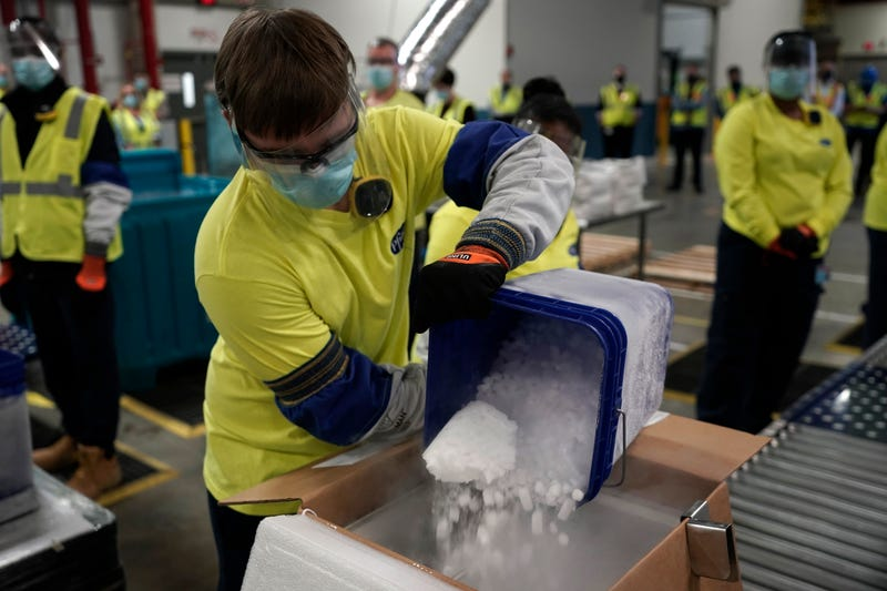 Boxes containing the Pfizer-BioNTech COVID-19 vaccine are prepared to be shipped at the Pfizer Global Supply Kalamazoo manufacturing plant on December 13, 2020 in Portage, Michigan. (