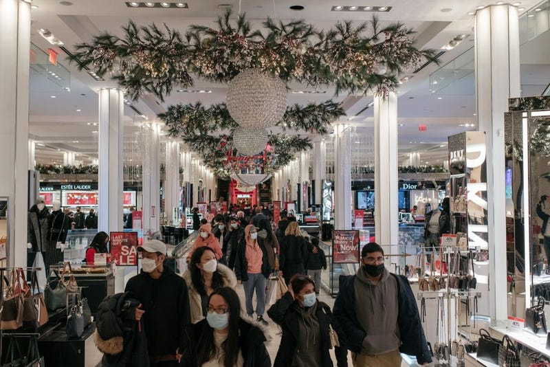 Shoppers wear face masks at Macy's