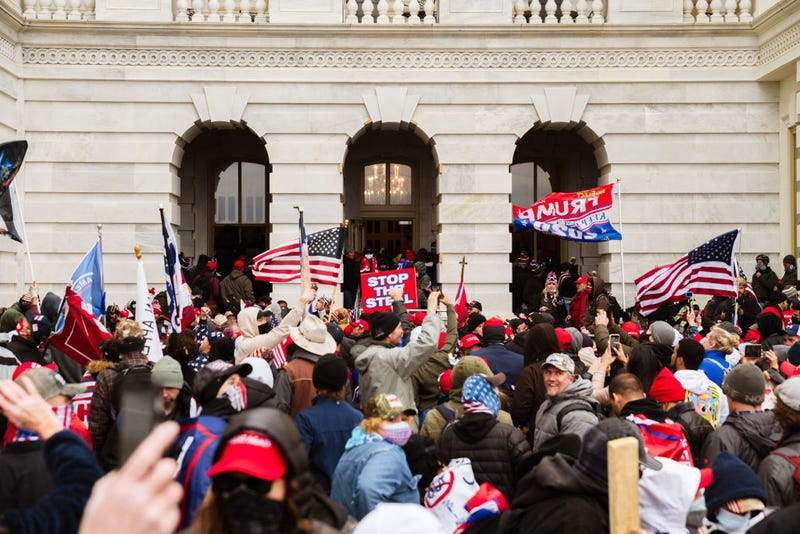 A pro-Trump mob floods into the Capitol Building after breaking into it on January 6, 2021