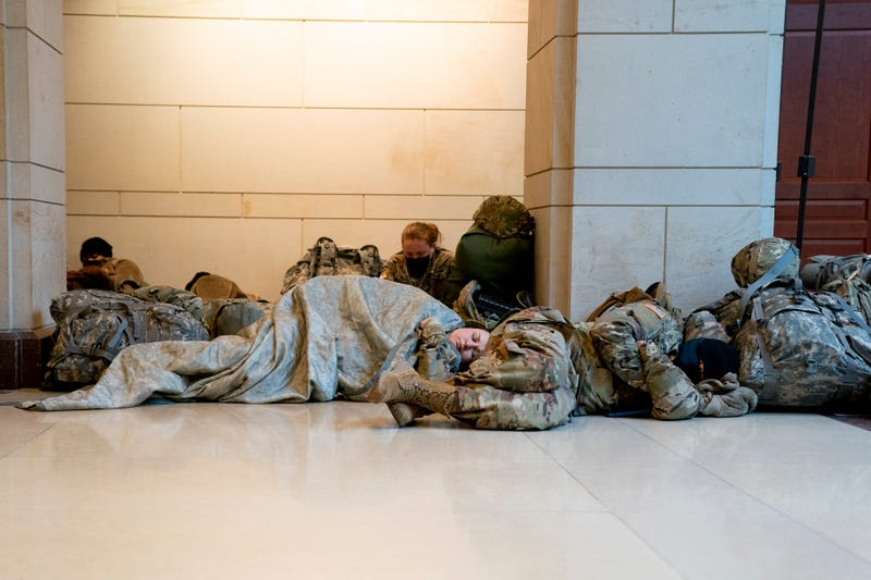 Members of the National Guard sleep on the floor of the U.S. Capitol on January 13, 2021 in Washington, DC. Security has been increased throughout Washington following the breach of the U.S. Capitol last Wednesday, and leading up to the Presidential inauguration.