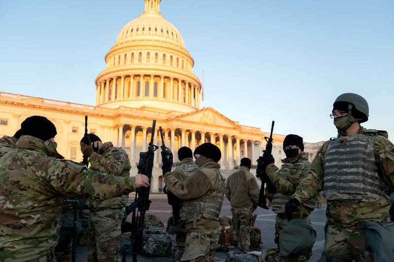 Weapons are distributed to members of the National Guard outside the U.S. Capitol on January 13, 2021 in Washington, DC.