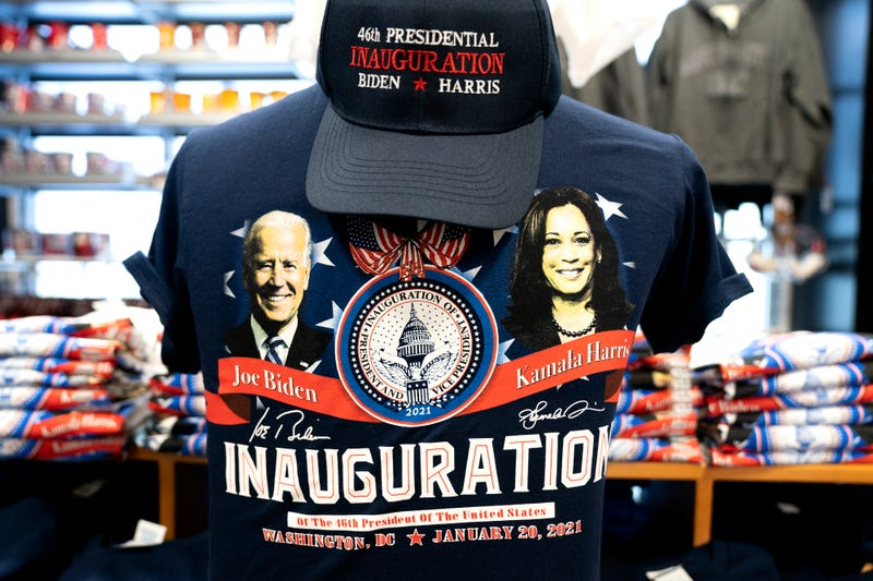 Biden-Harris Inauguration merchandise is displayed at a store in Union Station on January 14, 2021 in Washington, DC. Due to security concerns, the National Mall will be closed on Inauguration Day, as people are encouraged to view inaugural events from their home.