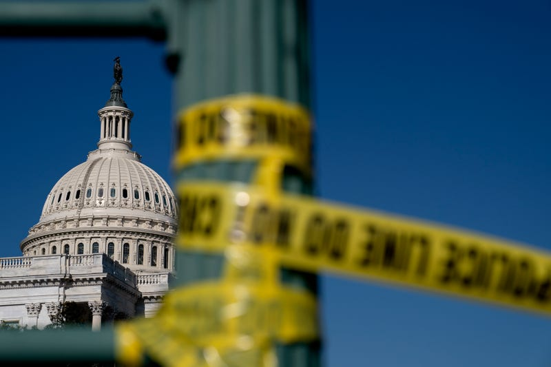 Police tape hangs near the U.S. Capitol on January 14, 2021 in Washington, DC. Security has been increased throughout Washington following the breach of the U.S. Capitol last Wednesday, and leading up to the Presidential Inauguration.