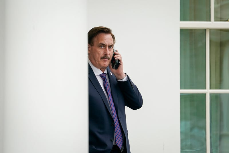 Mike Lindell makes a call outside of the White House