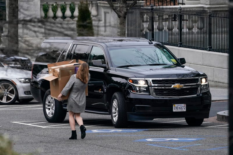 A woman carries boxes out of the West Wing of the White House on January 15, 2021 in Washington, DC. According to recent news reports, President Donald Trump is slated to leave Washington the morning of Jan. 20th, hours before President-elect Joe Biden will be sworn-in as president.