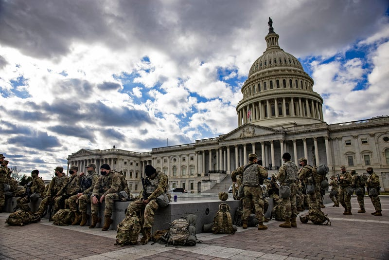 Virginia National Guard soldiers on the east front of the U.S. Capitol on January 17, 2021 in Washington, DC. After last week's riots at the U.S. Capitol Building, the FBI has warned of additional threats in the nation's capital and in all 50 states. According to reports, as many as 25,000 National Guard soldiers will be guarding the city as preparations are made for the inauguration of Joe Biden as the 46th U.S. President.