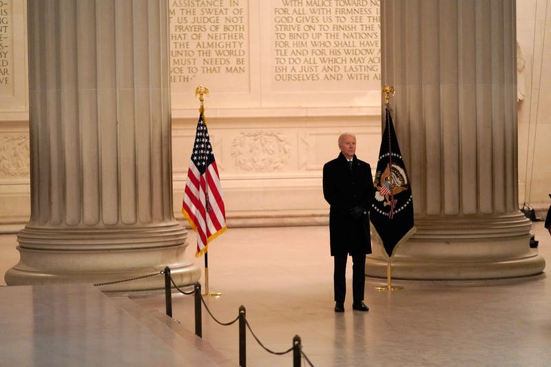 WASHINGTON, DC - JANUARY 20: U.S. President Joe Biden participates in a televised ceremony at the Lincoln Memorial on January 20, 2021 in Washington, DC. Biden was sworn in today as the 46th president. (Photo by Joshua Roberts-Pool/Getty Images)