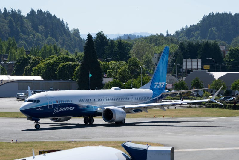 Boeing 737 MAX 10 prepares to take off for its first flight at Renton Municipal Airport on June 18, 2021 in Renton, Washington. The 737 MAX 10 is Boeing's newest model since regulators cleared the 737 MAX to fly again in November 2020. (Photo by Stephen Brashear/Getty Images)