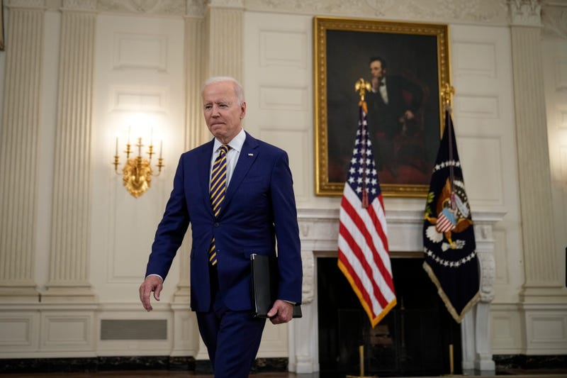 President Joe Biden departs after speaking about the nation's COVID-19 response.