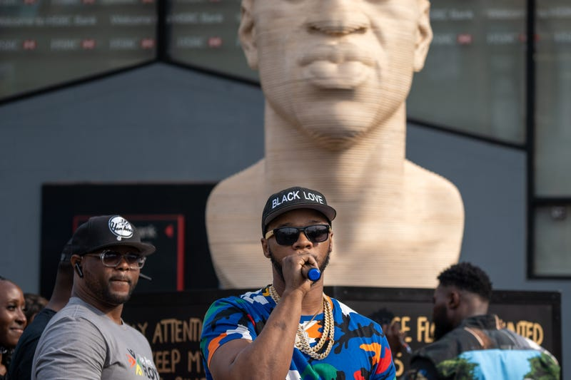 Rapper Papoose speaks at the unveiling of a statute dedicated to his brother George Floyd at Flatbush Junction on June 19, 2021, in the Brooklyn borough of New York City
