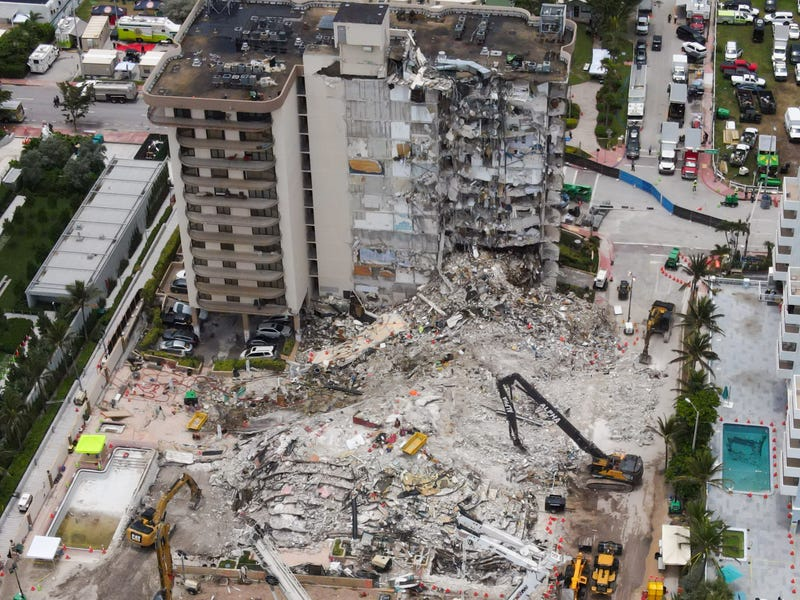 An aerial view of the site during a rescue operation of the Champlain Tower partially collapsed in Surfside, Florida, United States, on July 1, 2021.