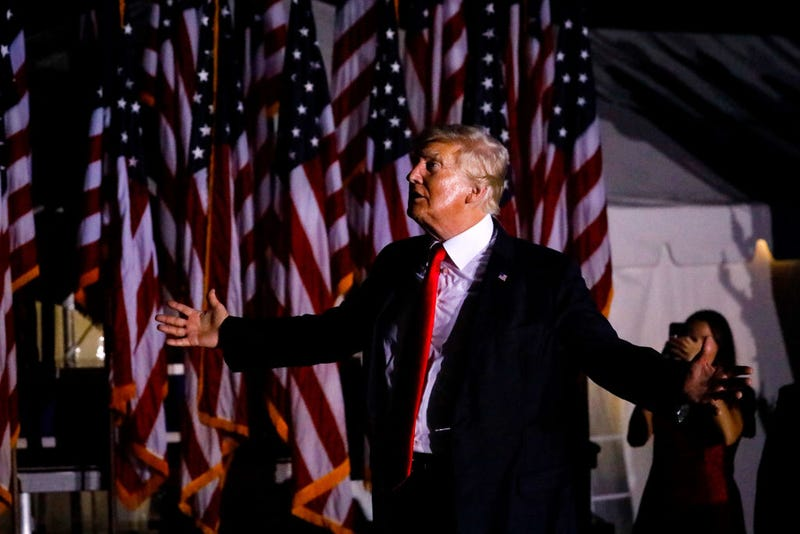 Former U.S. President Donald Trump leaves after a rally on July 3, 2021 in Sarasota, Fla.