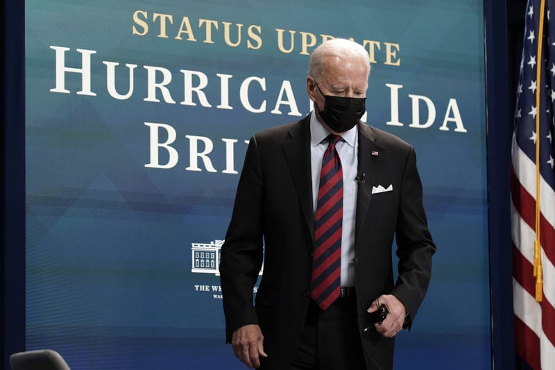U.S. President Joe Biden arrives for a virtual Hurricane Ida briefing at the White House in Washington, D.C, U.S, on Monday, Aug. 30, 2021. Biden vowed Monday to continue providing federal support in the aftermath of Hurricane Ida, which made landfall south of New Orleans and has left more than a million homes and businesses without power.
