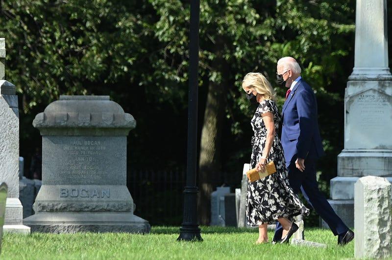 President Joe Biden and First Lady Jill Biden arrive at St. Joseph on the Brandywine church in Wilmington, Delaware, on September 4, 2021.