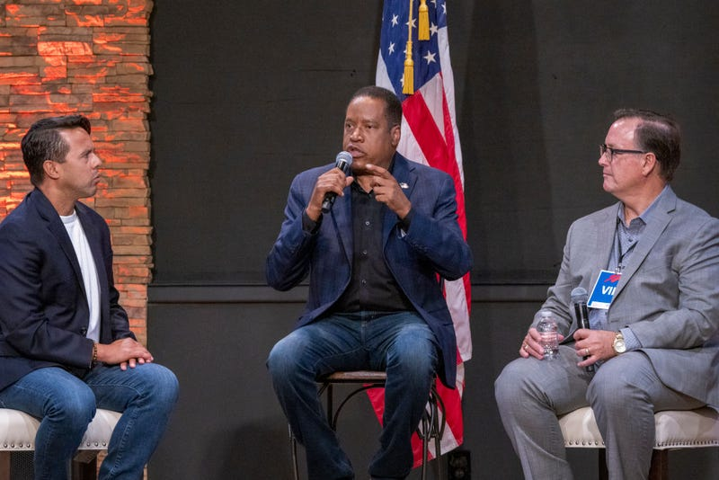 Republican recall candidate Larry Elder appears with a group of pastors during a Latino town hall event at the New Season LA Church as he campaigns to try to beat Gov. Gavin Newsom in the upcoming gubernatorial recall election on September 9, 2021 in Downey, California