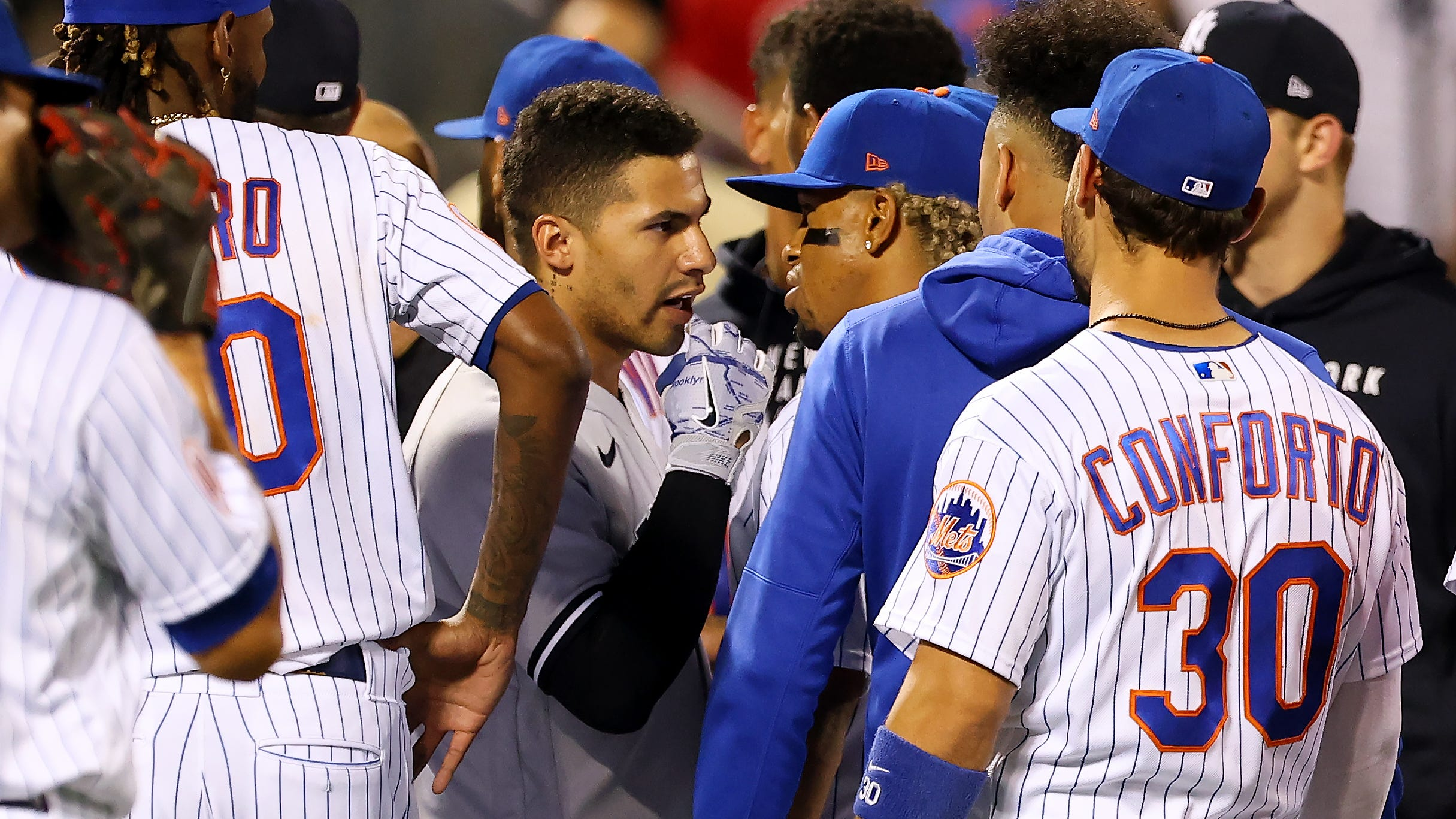 Giancarlo Stanton, Joey Gallo explain Yankees' whistling, benches-clearing argument
