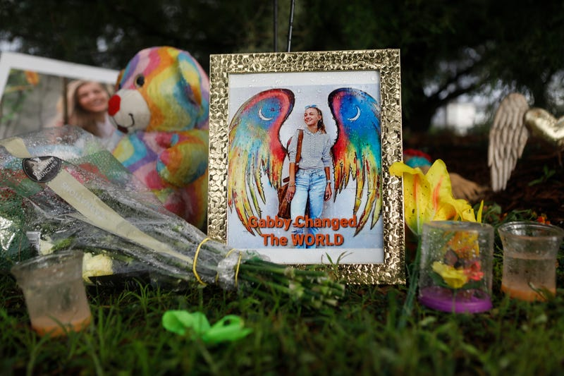 SEPTEMBER 21: A makeshift memorial dedicated to Gabby Petito is located near the North Port City Hall on September 21, 2021 in North Port, Florida. The body of Petito was found by authorities in Wyoming, where she went missing while on a cross-country trip with her fiance, Brian Laundrie. Law enforcement agencies are for searching for his whereabouts.