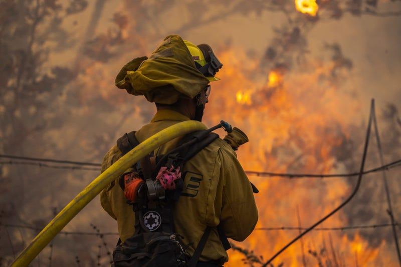 ThermometA firefighter battles the Alisal Fire on October 12, 2021, near Goleta, California.er