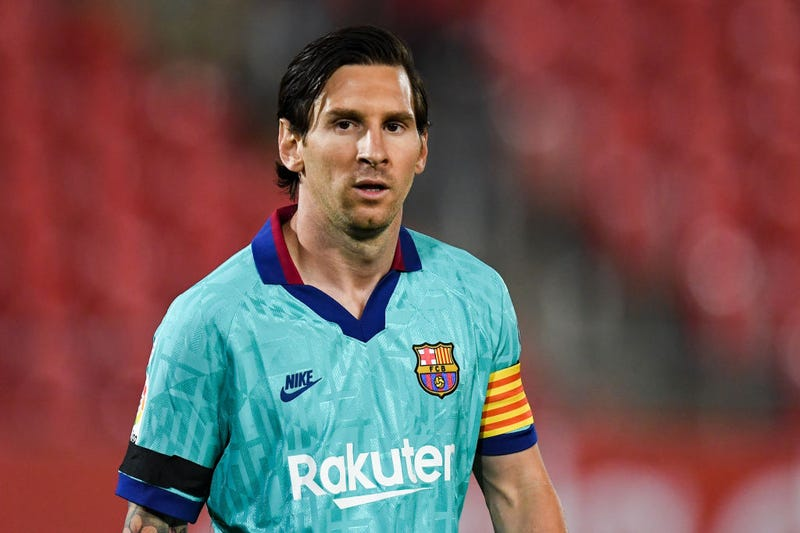 Lionel Messi of FC Barcelona looks on during the Liga match between RCD Mallorca and FC Barcelona at Estadio de Son Moix on June 13, 2020 in Mallorca, Spain.