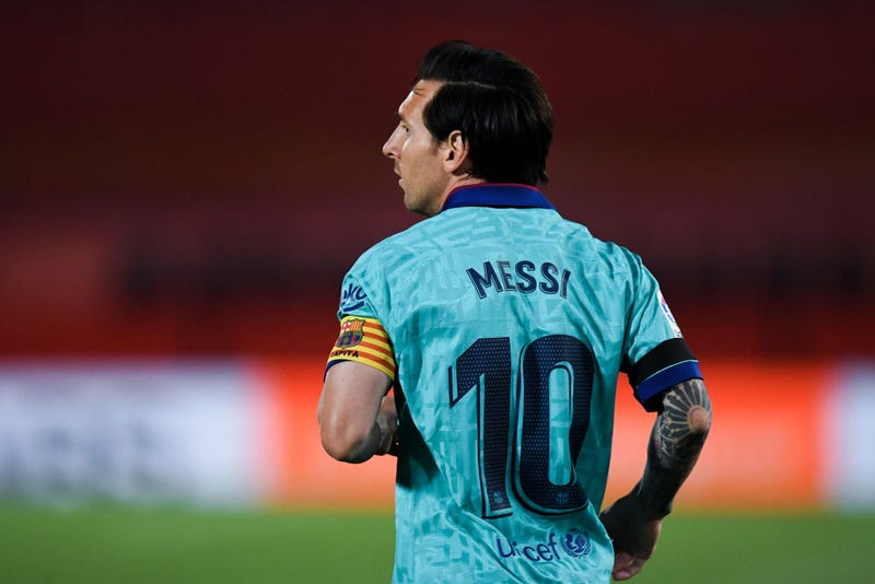 Lionel Messi of FC Barcelona looks on during the Liga match between RCD Mallorca and FC Barcelona at Estadio de Son Moix on June 13, 2020 in Mallorca, Spain