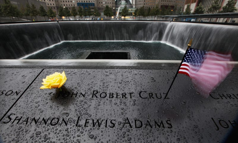 he North Pool Waterfall at the National September 11 Memorial is seen in the rain on the fourth day it was open to the public on September 15, 2011 in New York City. Access to the memorial is free, but will is tightly controlled with visitors needing to obtain passes in advance, entering at specified times.
