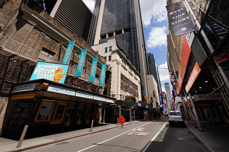 A view of Broadway theaters on W. 44th Street on June 29, 2020 in New York City.