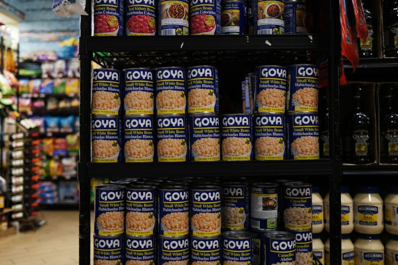 Cans of Goya food products are displayed on a shelf in a store on July 16, 2020 in New York City. Donald and Ivanka Trump shared images of themselves holding Goya Foods products after the head of Goya expressed his support for President Trump. Activists and consumers have called for a boycott of Goya, a company with a large Hispanic client base, following the news of the CEO's support for Trump.