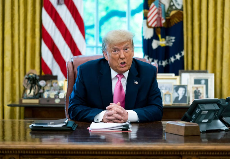 President Donald Trump talks to reporters while hosting Republican Congressional leaders and members of his cabinet in the Oval Office at the White House July 20, 2020 in Washington, DC.