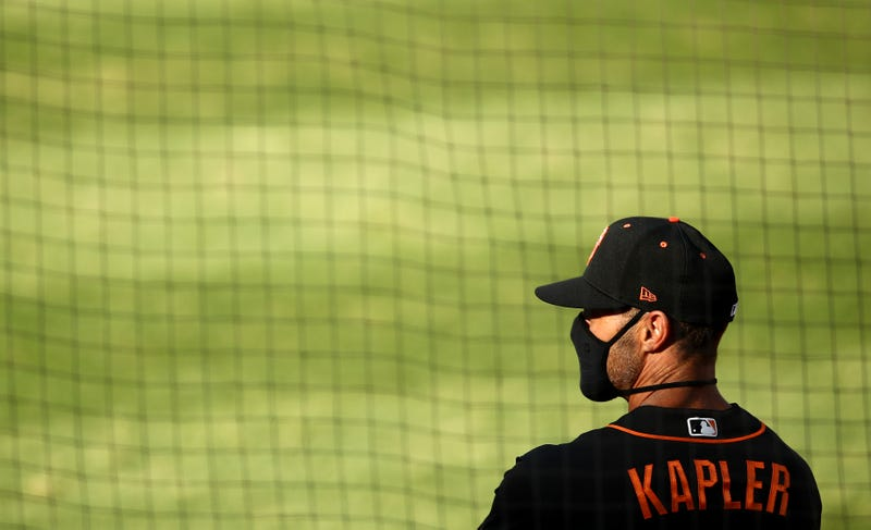 Manager Gabe Kapler of the San Francisco Giants stands in the dugout before their exhibition game against the Oakland Athletics at Oakland-Alameda County Coliseum on July 20, 2020 in Oakland, California.