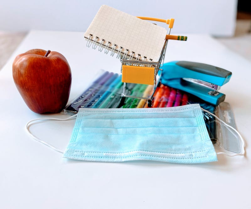 School supplies and face mask