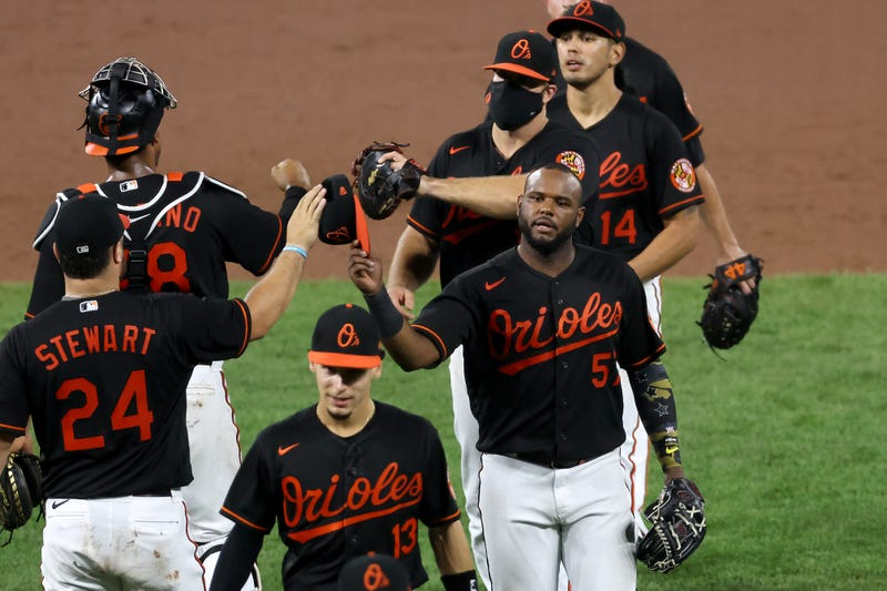 The Orioles celebrating a victory over Tampa Bay