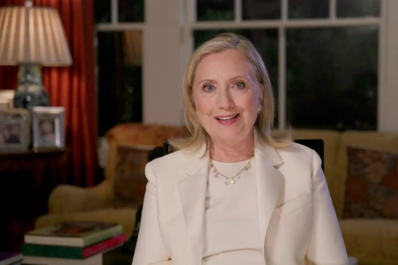 In this screenshot from the DNCC's livestream of the 2020 Democratic National Convention, former first lady and Secretary of State Hillary Clinton addresses the virtual convention on August 19, 2020.