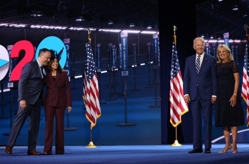 Democratic vice presidential nominee U.S. Sen. Kamala Harris (D-CA) and her husband Douglas Emhoff and Democratic presidential nominee Joe Biden and his wife Dr. Jill Biden appear on stage after Harris delivered her acceptance speech on the third night of the Democratic National Convention from the Chase Center August 19, 2020 in Wilmington, Delaware.