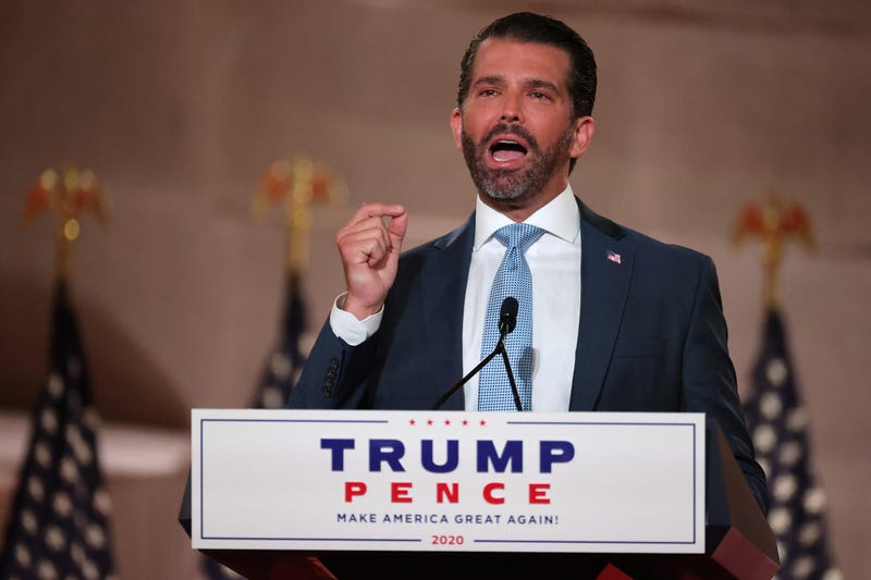 Donald Trump Jr. pre-records his address to the Republican National Convention at the Mellon Auditorium on August 24, 2020 in Washington, DC.