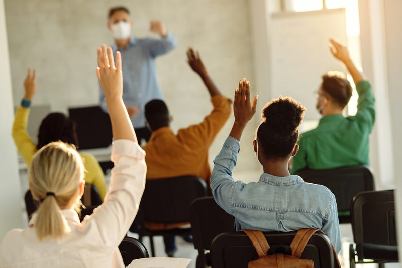 Students in class with masks